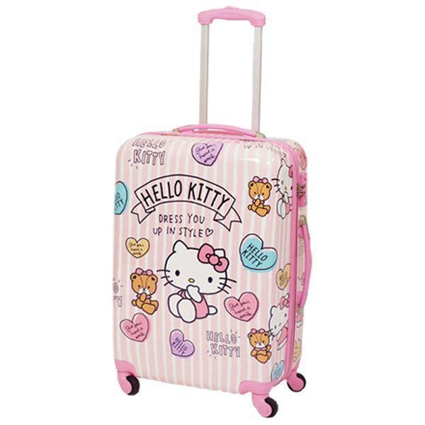 〔ハローキティ〕 スーツケース 〔M ピンク〕 幅46.5×奥行26×高さ67cm 耐衝撃性 軽量 キャリーバー2段階 鍵式TSAロック