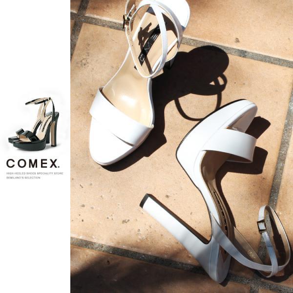 COMEX サンダル ハイヒール チャンキーヒール アンクルストラップ コメックス 5586|be-milano
