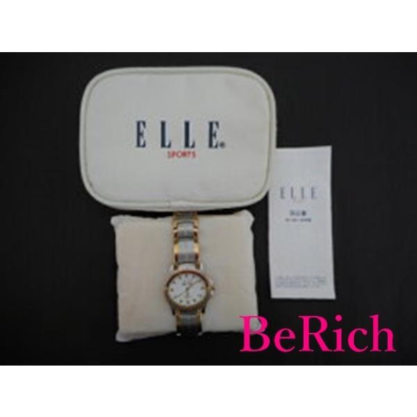 ELLE スポーツ レディース腕時計 ウォッチ クォーツ シルバー×ゴールド×白 SS 【中古】ht905