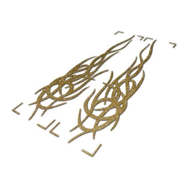 バイク・車用 トライバルステッカー A ゴールドラメ 8cm×17cm カウル タンク ボンネット リアガラス ヘルメット 等