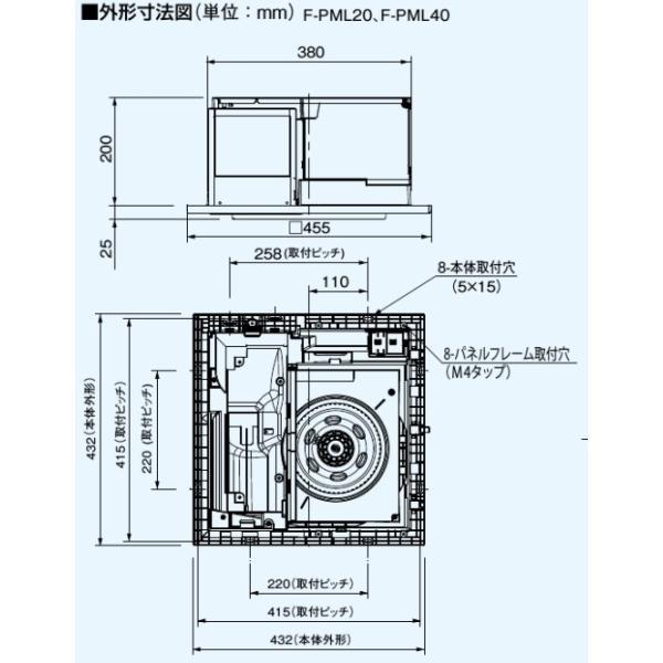 パナソニック 天井埋込形空気清浄機 適用床面積:20畳 エコナビ・ナノイー搭載 センサー付【F-PML40】【送料無料】