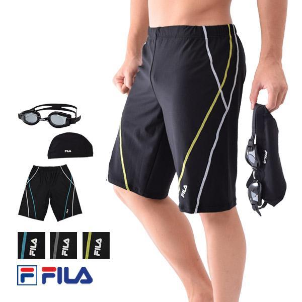 メンズ フィットネス水着 セット 水着 FILAフィラ 水泳帽 ゴーグル 3点セット スイムボトム スイムウェア ゆうパケット送料無料 M/L/LL/3L/4L/5L 438901set[set] beach-angel