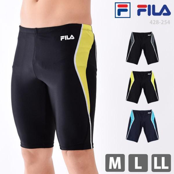 フィットネス 水着 メンズ FILA フィラ 男性用 ひざ丈 スパッツ型 体型カバー サーフパンツ スクール水着 428254 M/L/LL ゆうパケット送料無料|beach-angel