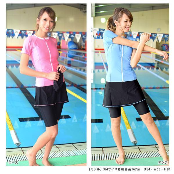 フィットネス 水着 レディース スカート セット セパレート 半袖 大きいサイズ 体型カバー KIREI BEACH KB113 5S〜21LL 送料無料|beach-angel|05