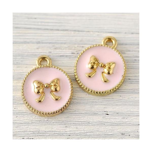 ハンドメイド アクセサリー ラティーフ リボンチャーム 丸型 (ピンク) 2個入り|beadsmania-shop