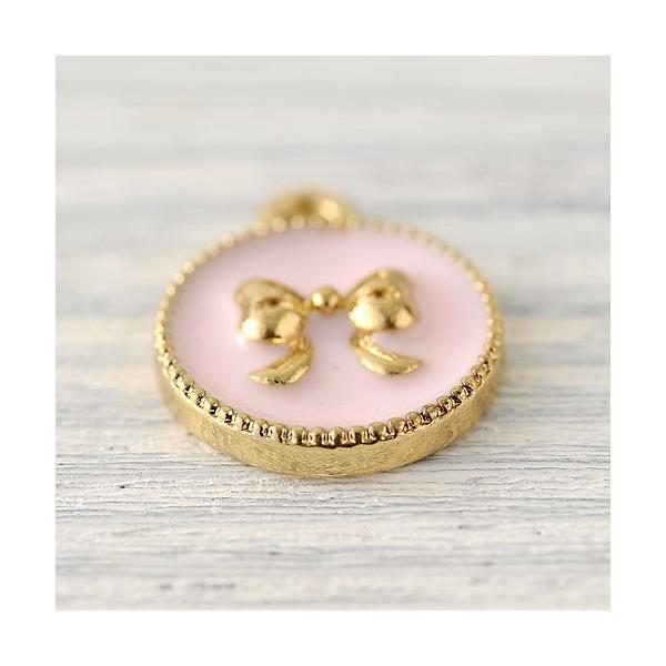 ハンドメイド アクセサリー ラティーフ リボンチャーム 丸型 (ピンク) 2個入り|beadsmania-shop|02