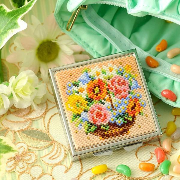 ビーズキット 雑貨 〜花かご〜コンパクトケース|beadsmania-shop