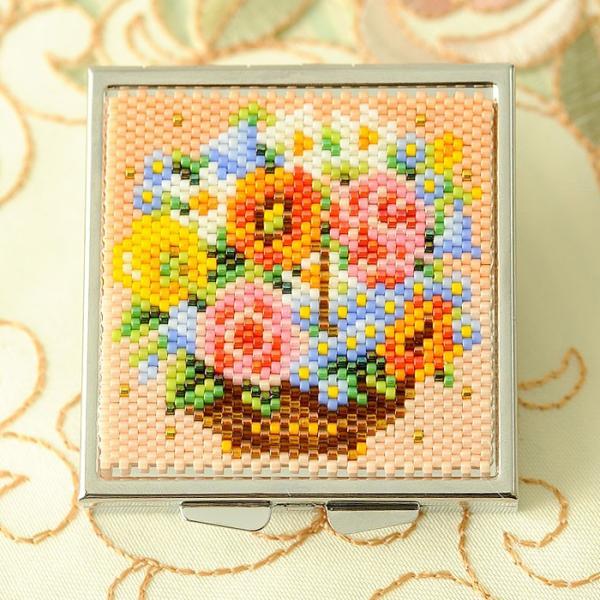 ビーズキット 雑貨 〜花かご〜コンパクトケース|beadsmania-shop|02