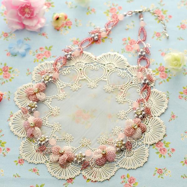 ビーズキット レシピ すみれのネックレス(ピンク)|beadsmania-shop