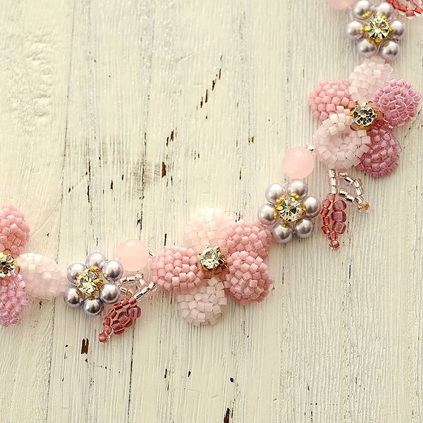 ビーズキット レシピ すみれのネックレス(ピンク)|beadsmania-shop|02