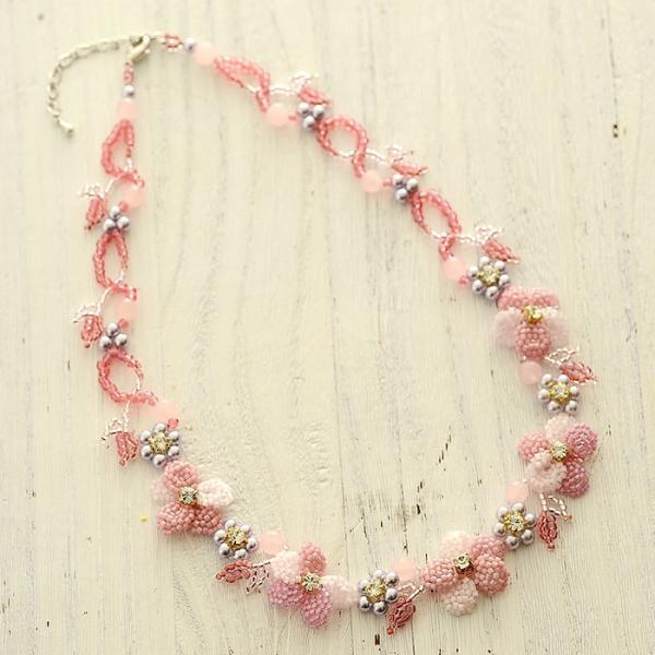 ビーズキット レシピ すみれのネックレス(ピンク)|beadsmania-shop|04