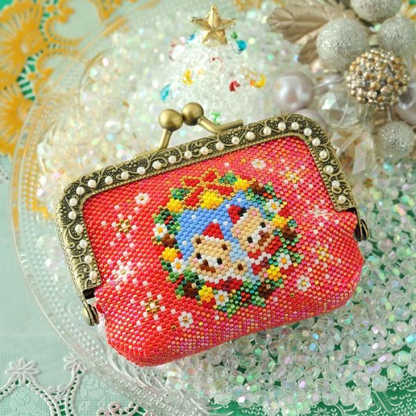 ビーズキット 雑貨 がま口ポーチ〜Merry Christmas〜  ビーズマニア|beadsmania-shop