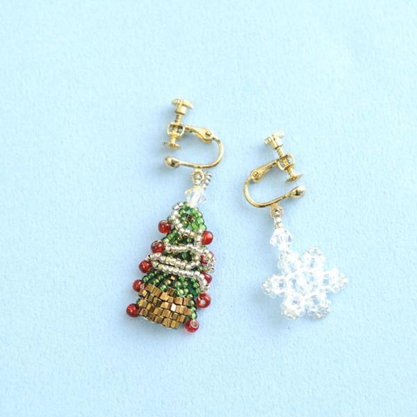 ビーズ キット レシピ クリスマスツリーイヤリング&スノークリスタルイヤリングセット|beadsmania-shop|02