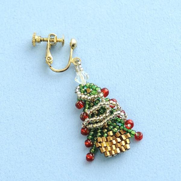 ビーズ キット レシピ クリスマスツリーイヤリング&スノークリスタルイヤリングセット|beadsmania-shop|04