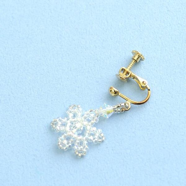 ビーズ キット レシピ クリスマスツリーイヤリング&スノークリスタルイヤリングセット|beadsmania-shop|05
