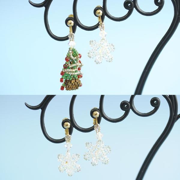 ビーズ キット レシピ クリスマスツリーイヤリング&スノークリスタルイヤリングセット|beadsmania-shop|06