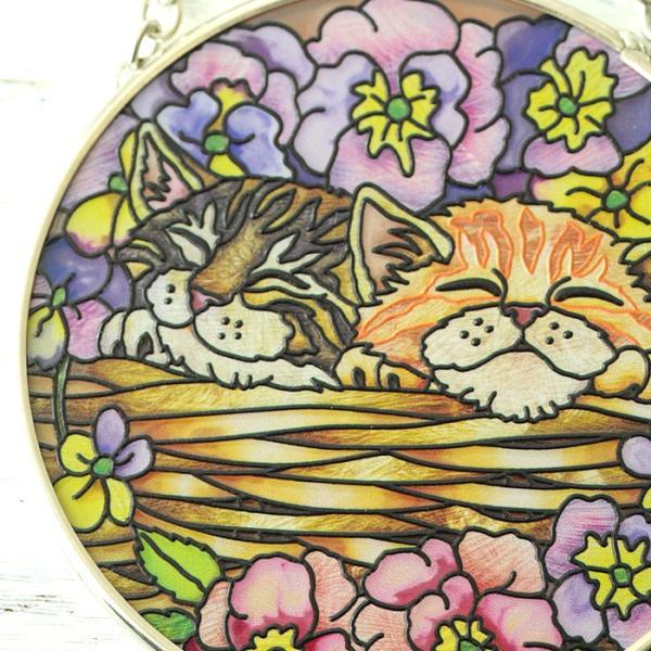 ステンドグラス サンキャッチャー 壁掛け Flower Basket Rest|beadsmania-shop|03