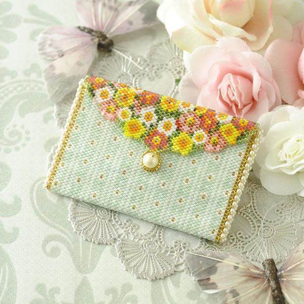 ビーズ キット 雑貨 ミニポーチ〜薔薇と蝶〜  春特集 ビーズマニア|beadsmania-shop