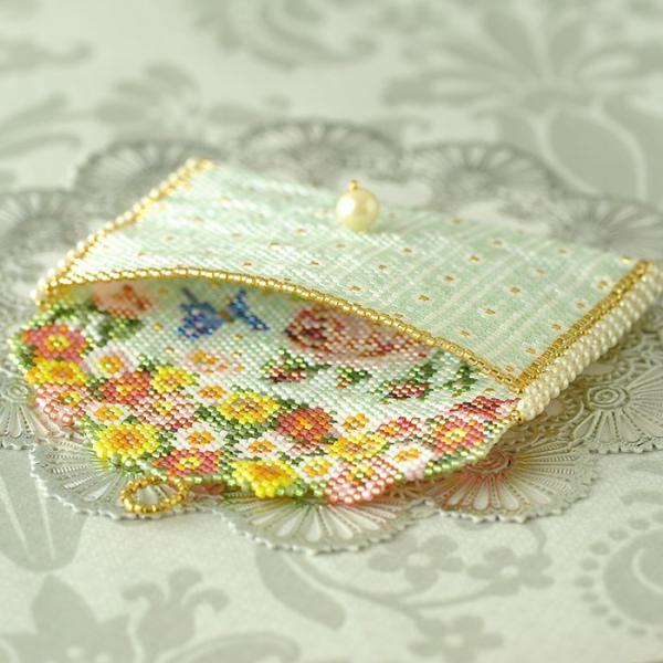 ビーズ キット 雑貨 ミニポーチ〜薔薇と蝶〜  春特集 ビーズマニア|beadsmania-shop|04