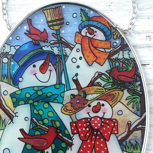 ステンドクラス アンティーク ステンドグラス サンキャッチャー 壁掛け 雪だるまの家族|beadsmania-shop|03