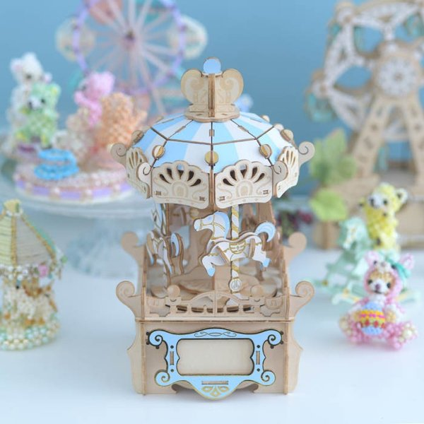 クラフト キット ハンドメイド 手作り  Wooden Art ki-gu-mi オルゴール付き メリーゴーランド|beadsmania-shop