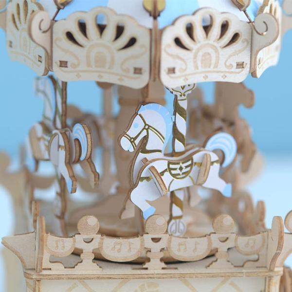 クラフト キット ハンドメイド 手作り  Wooden Art ki-gu-mi オルゴール付き メリーゴーランド|beadsmania-shop|02