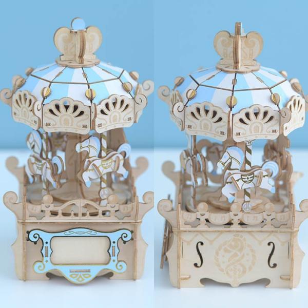 クラフト キット ハンドメイド 手作り  Wooden Art ki-gu-mi オルゴール付き メリーゴーランド|beadsmania-shop|03