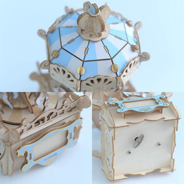 クラフト キット ハンドメイド 手作り  Wooden Art ki-gu-mi オルゴール付き メリーゴーランド|beadsmania-shop|04