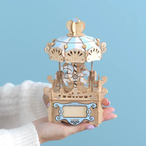 クラフト キット ハンドメイド 手作り  Wooden Art ki-gu-mi オルゴール付き メリーゴーランド|beadsmania-shop|05