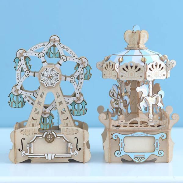 クラフト キット ハンドメイド 手作り  Wooden Art ki-gu-mi オルゴール付き メリーゴーランド|beadsmania-shop|06
