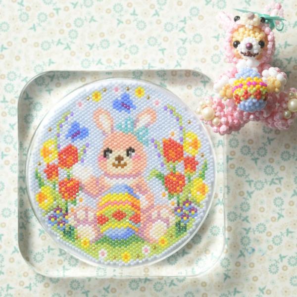 ビーズ キット ハンドメイド ステッチコースター〜Happy Easter〜 ビーズマニア|beadsmania-shop|02