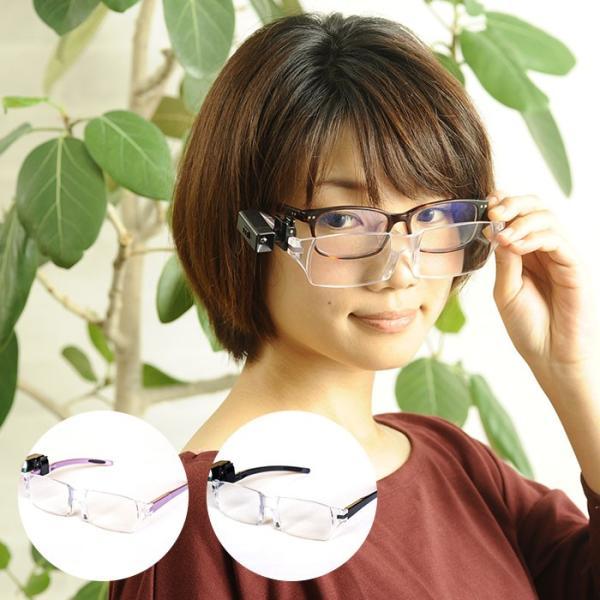 拡大鏡  眼鏡 ルーペ メガネ型ルーペ めがね 手芸 両手が使える眼鏡式ルーペ(LEDライト付き) 視力補正 眼鏡ルーペ 視力補正 beadsmania-shop