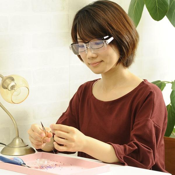 拡大鏡  眼鏡 ルーペ メガネ型ルーペ 両手が使える眼鏡式ルーペ 視力補正 beadsmania-shop 08