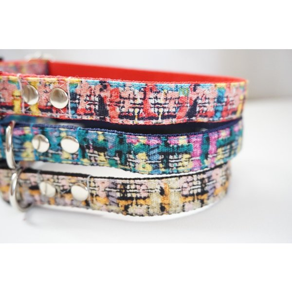 犬用首輪/ハーネス  フェイクツイード(全3色)  オーダーメイド品  小型犬  中型犬  子犬  (10mm/15mm/20mm幅)  チェック  猫の首輪 beans-factory 02