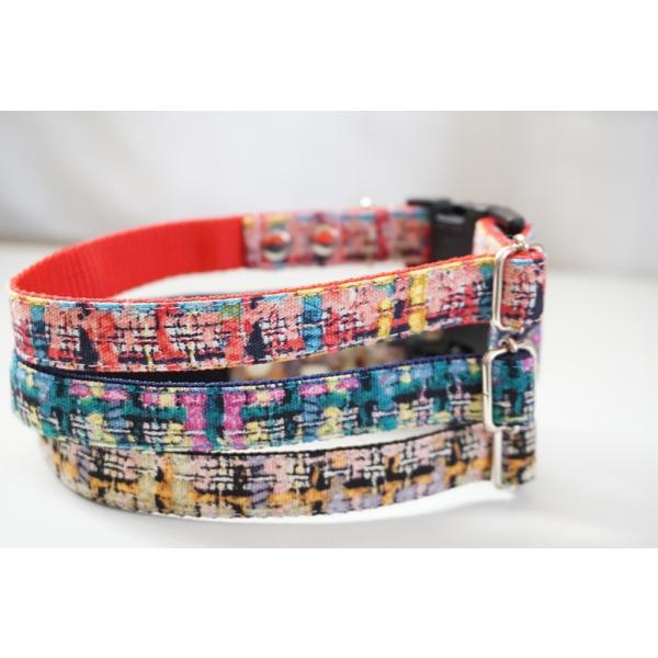 犬用首輪/ハーネス  フェイクツイード(全3色)  オーダーメイド品  小型犬  中型犬  子犬  (10mm/15mm/20mm幅)  チェック  猫の首輪 beans-factory 04