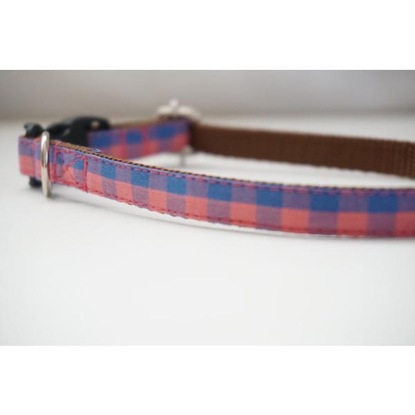 犬用首輪/ハーネス  カラーギンガム(全3色)  オーダーメイド品  小型犬  中型犬  子犬  (10mm/15mm/20mm幅)  チェック  猫の首輪  10mm|beans-factory|05