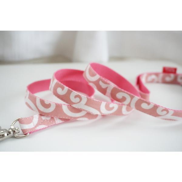 犬用リード  唐草ピンク(全1色)  オーダーメイド品  子犬  小型犬  中型犬  和柄  和調  唐草模様|beans-factory|03