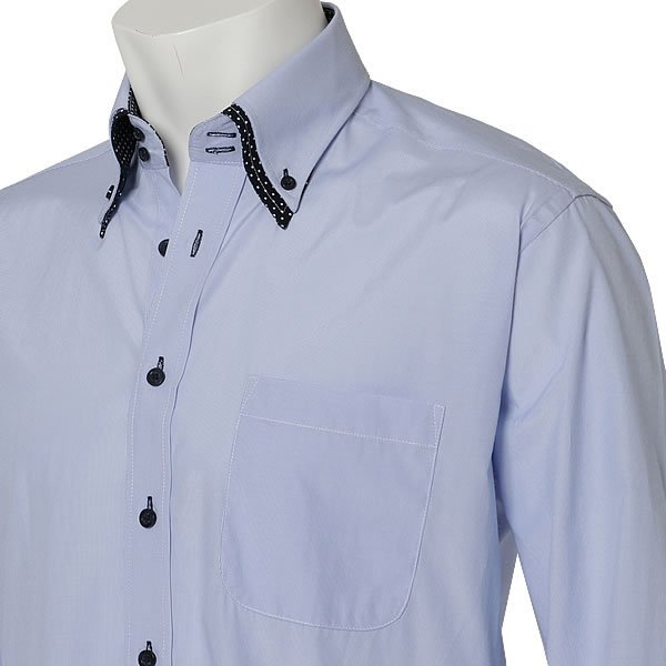 ワイシャツ メンズ 長袖 おしゃれ ボタンダウン スリム ストライプ シャツ カッターシャツ ドレスシャツ yシャツ 紳士用 黒|beauty-ex|19