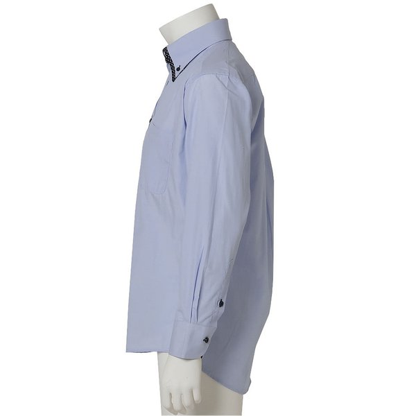 ワイシャツ メンズ 長袖 おしゃれ ボタンダウン スリム ストライプ シャツ カッターシャツ ドレスシャツ yシャツ 紳士用 黒|beauty-ex|20