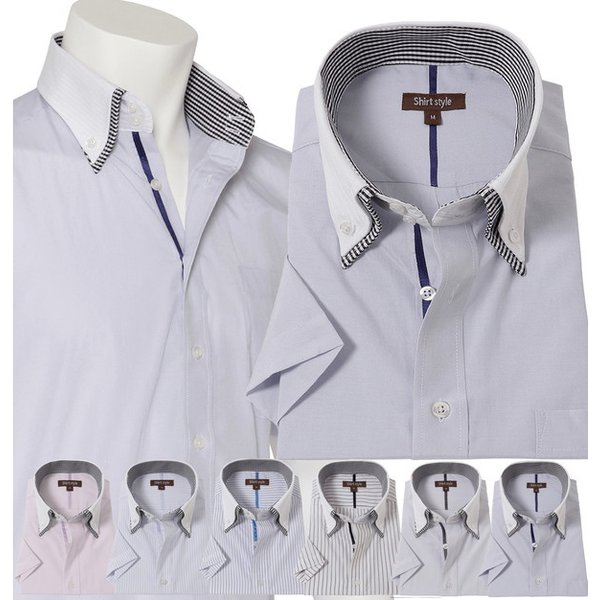 ワイシャツ 半袖 メンズ オシャレ クレリックシャツ 半袖 メンズ クレリック 半袖 ストライプ ビジネス|beauty-ex|18