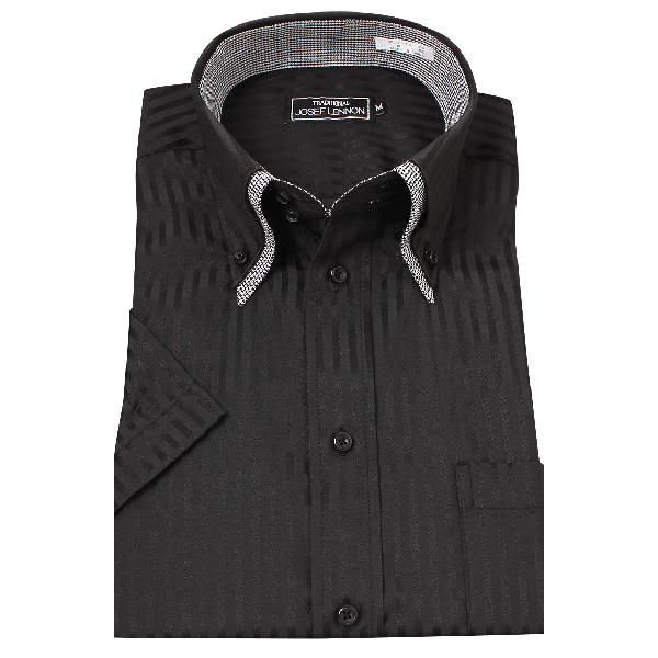 2d6a5bcdb14bcf ... メンズ ブラックシャツ 半袖 黒シャツ クールビズ 夏 ワイシャツ Yシャツ カッターシャツ 無地 ストライプ ドゥエ ...