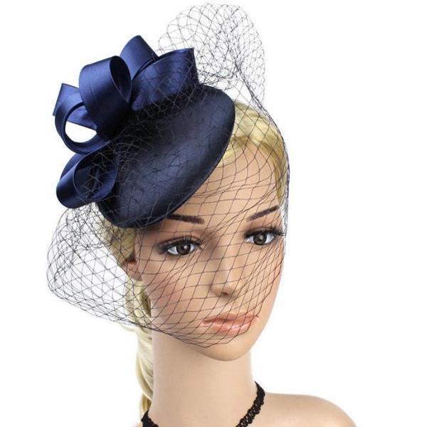 白・黒立体リボンチュール帽 サテンヘッドドレス カクテル帽 礼装帽子 トーク帽 結婚式 披露宴 パーティー 二次会 女子会 お呼ばれ 冠婚葬祭