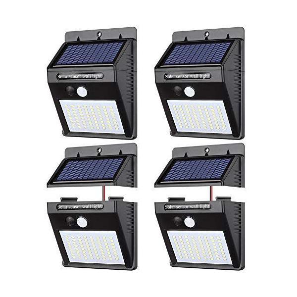 【 4個セット】ソーラーライト 人感センサー パネル分離 センサーライト 三つ点灯モード パネル分離可能 高輝度 太陽光発電 配線不要 防犯