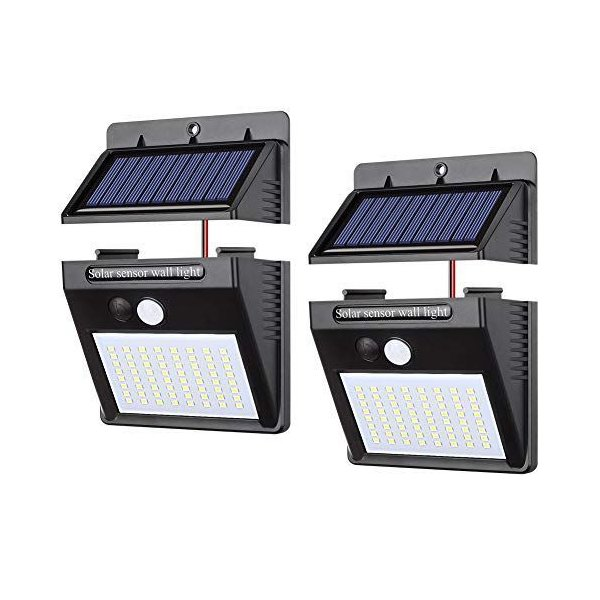 【2個セット】Merisny ソーラーライト ガーデンライトソーラー 64LED パネル分離可能 2.5mケーブル付三つ点灯モード 高輝度