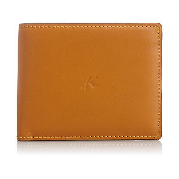 キタムラ 財布二折財布ZH0072ブラウン/イエローステッチ 茶色 60401