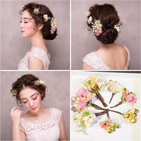 可愛いヘアアクセ、ヘアアクセサリー、髪飾り、ウエディング、ヘッドアクセ、ヘッドアクセサリー、森ガールセット、可愛い花びら、パーティ sp1059