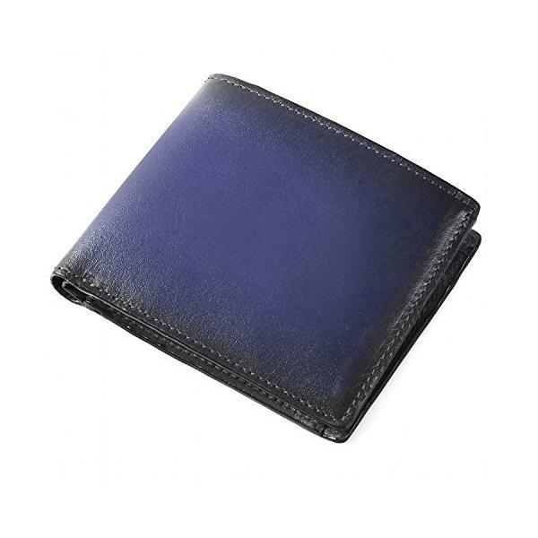 (ラファエロ)Raffaello一流の革職人が作るスフマート製法で仕立てたスマート仕様のメンズ二つ折財布(アズールブルー)