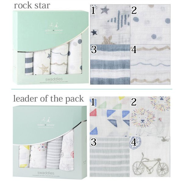 I know there are several different selections of Aden & Anais swaddling blankets - their website has