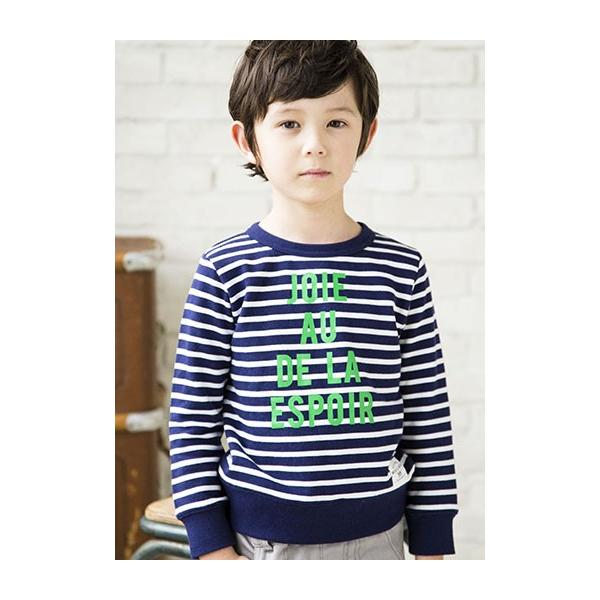 子供服 BEBE ベベ アウトレット 男の子 トレーナー BeBe ミニ裏毛ボーダーロゴ トレーナー 40 2360|bebe-shop|05
