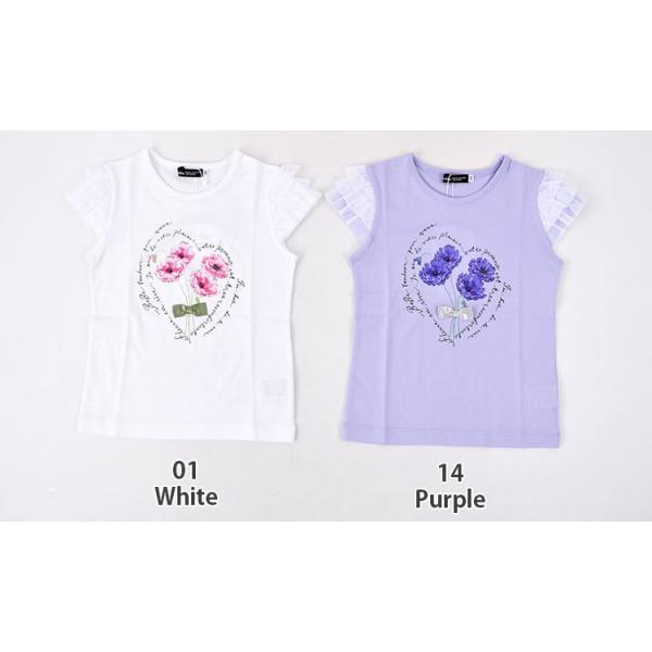 子供服 BEBE ベベ アウトレット 女の子 半袖 Tシャツ BeBe 袖 3段フリル ポピープリント 半袖Tシャツ ネット・アウトレット限定 ゆうパケット対応 B-4 1650|bebe-shop|02